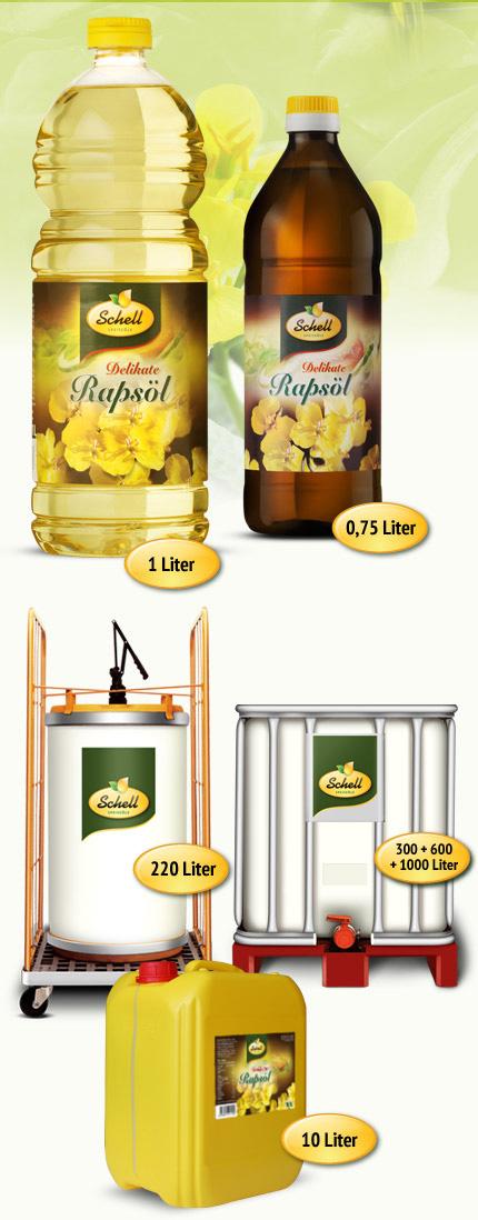 Flaschen Kanister Rapsöl
